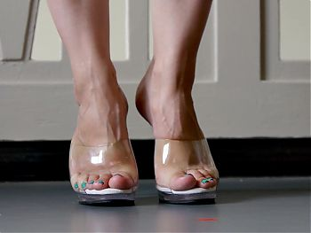 Feet 051 - GF Showing Off Bare Soles and Toes In Clear Heels