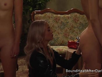 Two Naked Bubble Butt Lesbian Slaves Playing For Madame