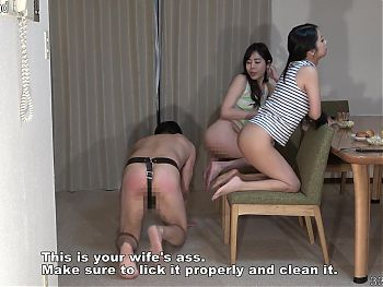 Japanese husband licks a lesbian womans ass and human chair