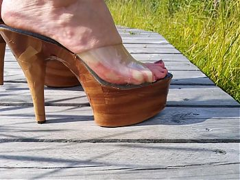 Lady L wooden sexy mules.