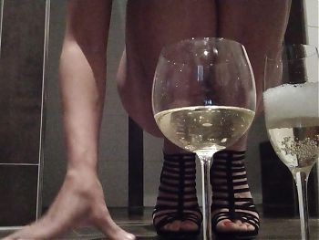 Mistress pissing in Glass