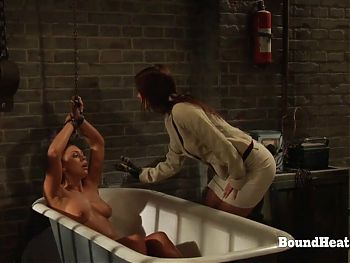 Bound Lesbian Slave Screams From Electric Shock Therapy