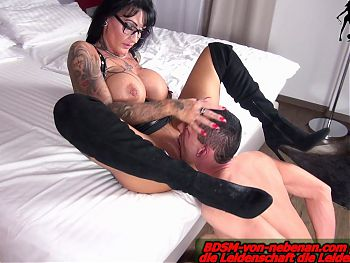 German big tits domina REAL FEMALE ORGASM from BDSM slave