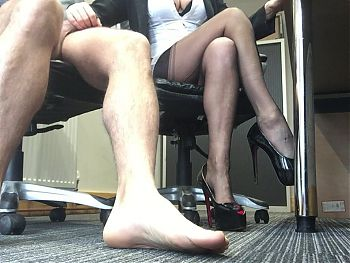 stockings secretary hand job